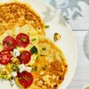 Cottage Cheese Pancake with Scrambled Egg and Tomato CMS